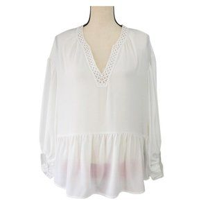 Max Edition ~ Solid Long Sleeve V-neck Blouse
